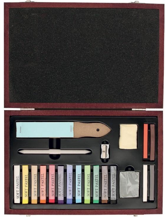 cod. 40045 cassetta in legno , pastelli soft e accessori, 22 pz