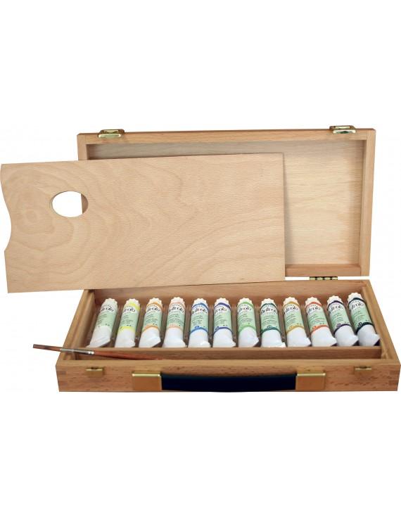 cassetta completa in legno- tempera