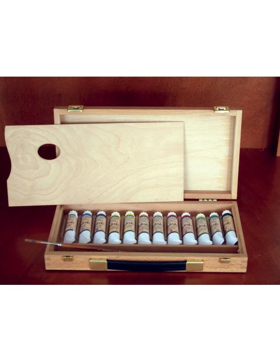 cassetta completa in legno- olio accademia