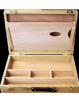 valigetta in legno vuota, cm 32x24 con scomparti interni e tavolozza, manico in ecopelle