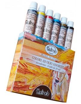 cofanetto in cartone completo di 6 colori ad olio